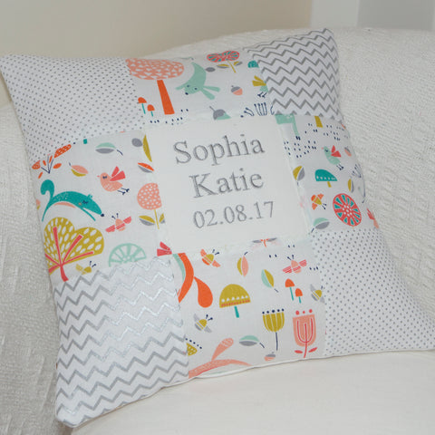 Woodland Name and Date Cushion