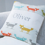 Friendly Foxes Name Cushion