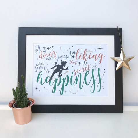 The Secret Of Happiness Peter Pan Print