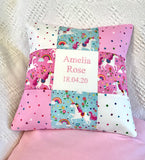 Pink and mint unicorn name and date cushion