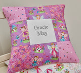 Lilac and pink fairy name cushion