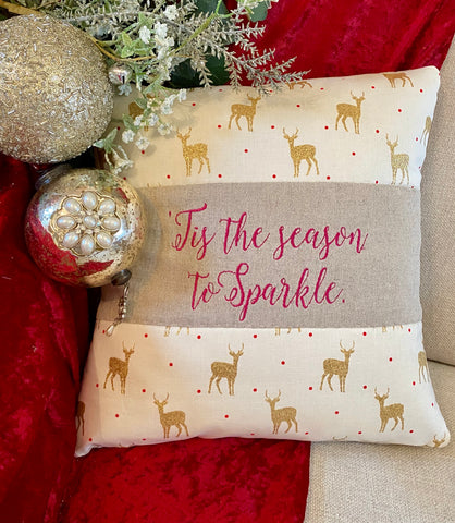 Sparkly reindeer cushion
