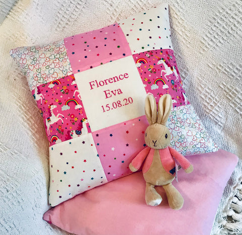 Pink unicorn name and date cushion