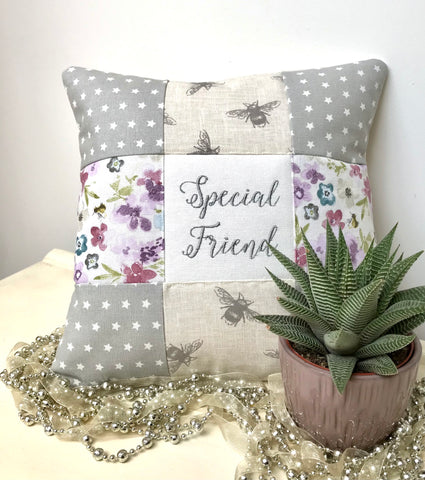 Special friend bees and flowers cushion