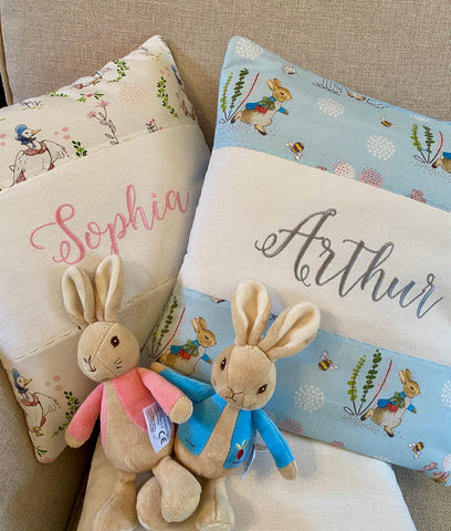 Peter Rabbit© Name and Date Cushion
