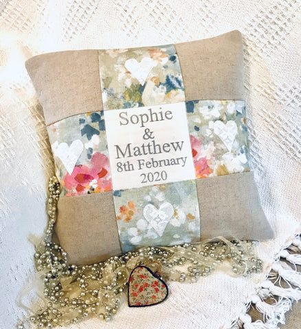 Silk and linen anniversary cushion