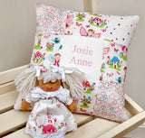 Cream and pink fairy name cushion