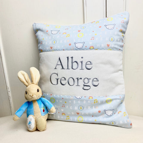 Grey teddy name cushion