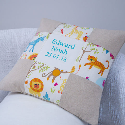 Jungle Name and Date Cushion
