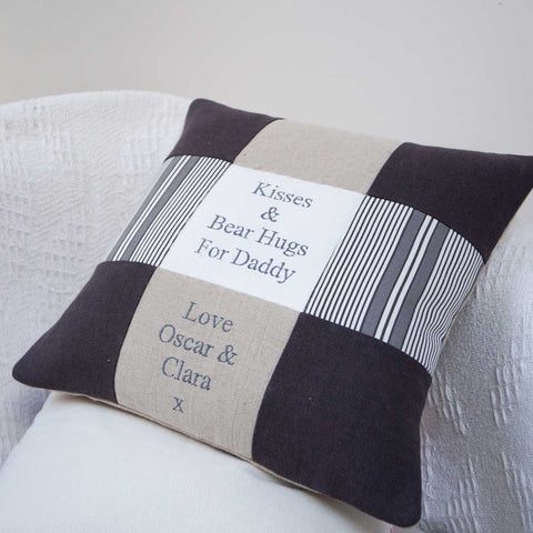 'Kisses and Bear Hugs' Dad Cushion