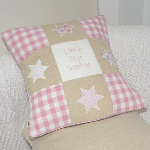 Personalised Little Star Cushion Pink