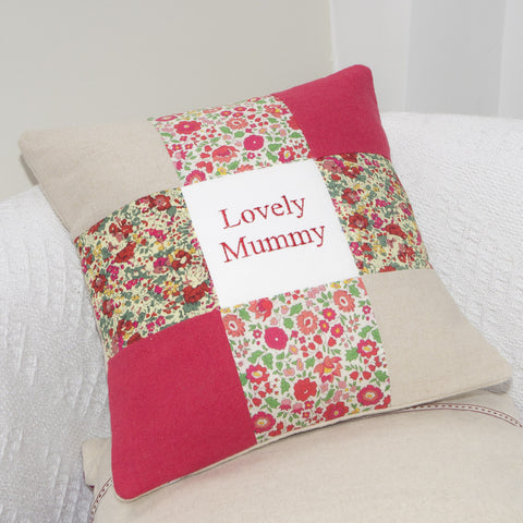 Liberty Print and Linen Name Cushion