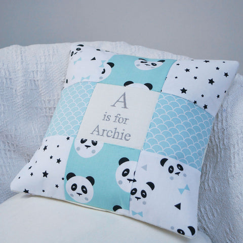 Panda Alphabet Cushion Mint