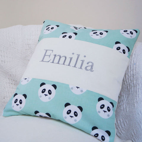 Panda Name Cushion Mint