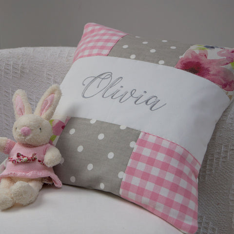 Pink and Grey Patchwork Name Cushion