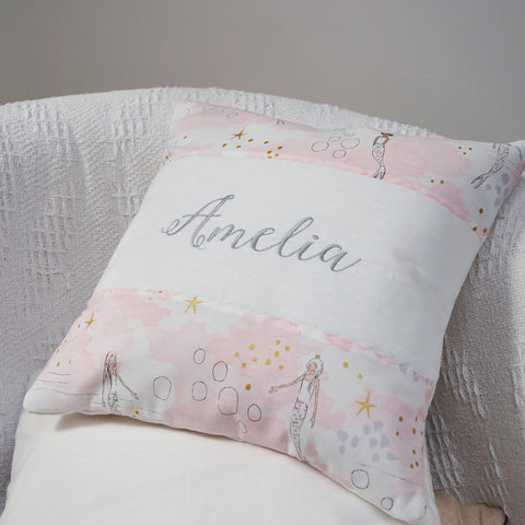 Mermaid Name Cushion Pink