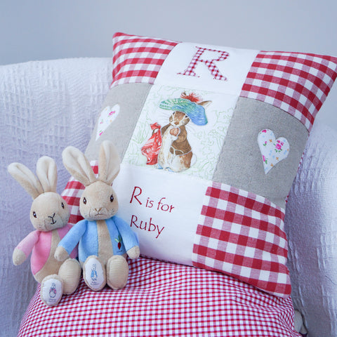 Beatrix Potter© Alphabet Cushion Red