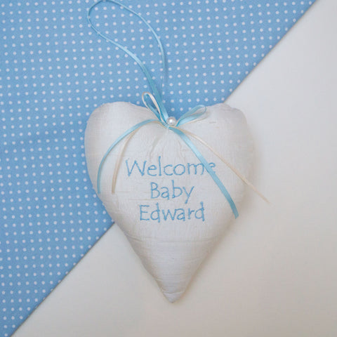 Welcome Baby Silk Heart Blue