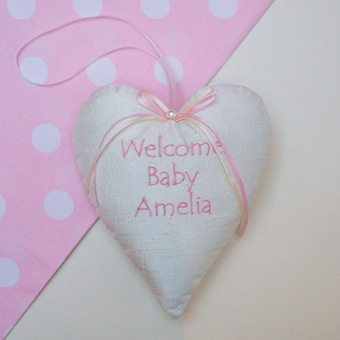 Welcome Baby Silk Heart Pink