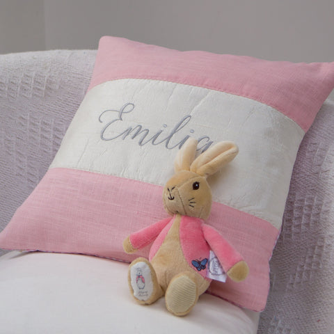 Silk and Linen Script Cushion Pink