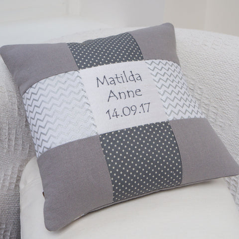 Silver Name and Date Cushion