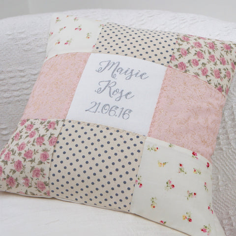 Sparkly Name and Date Cushion