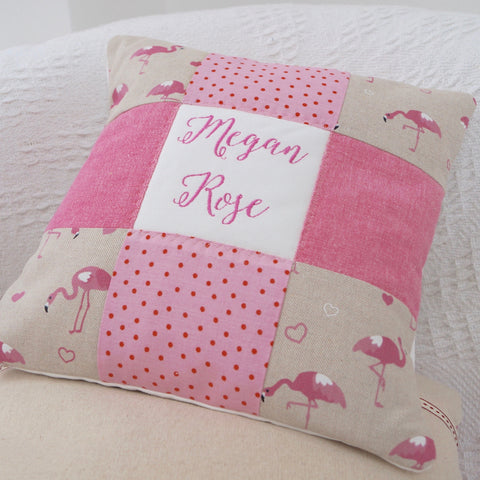 Flamingo Name Cushion