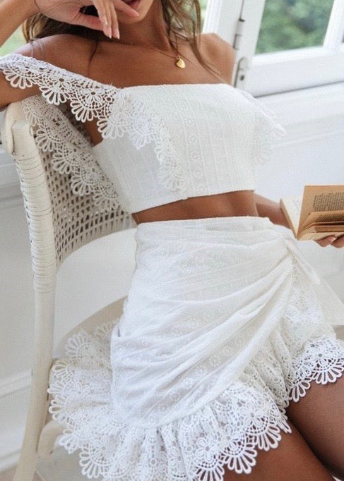 White Little Lace Crop - Brunch Babe