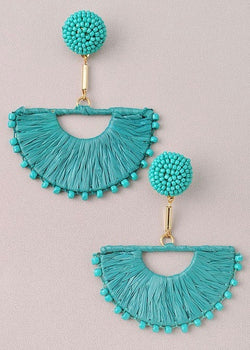 Farrah Fringe Earrings, Turquoise - Brunch Babe