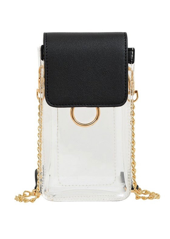Clear Cell Phone Crossbody, Black - Brunch Babe