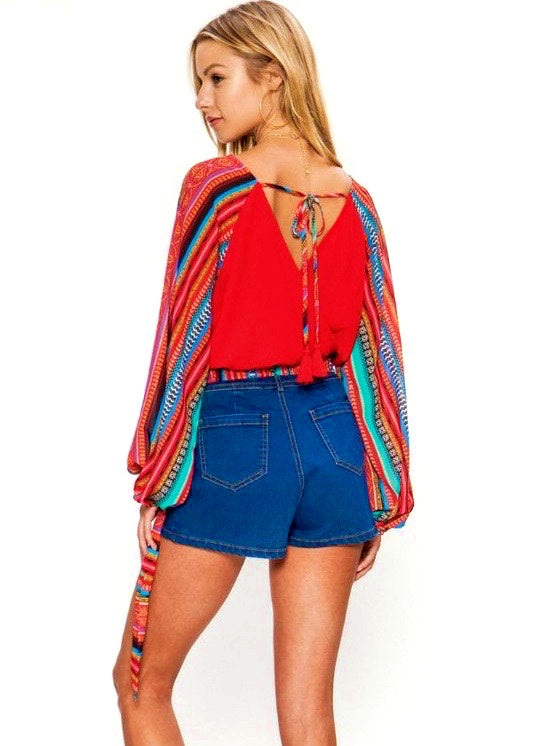 Red Tribal Print Knit Crop - Brunch Babe