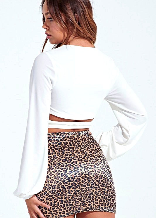 White Wrap Crop Top - Brunch Babe
