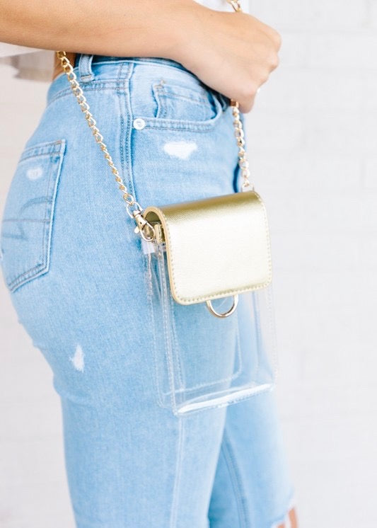 Clear Crossbody Purse, Champagne - Brunch Babe