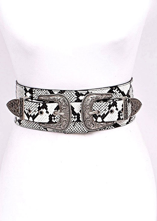 Double Up Leather Belt, Snake Print - Brunch Babe