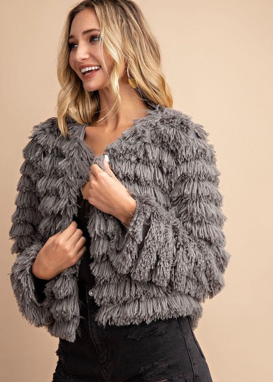 Charcoal Layered Fur Jacket - Brunch Babe