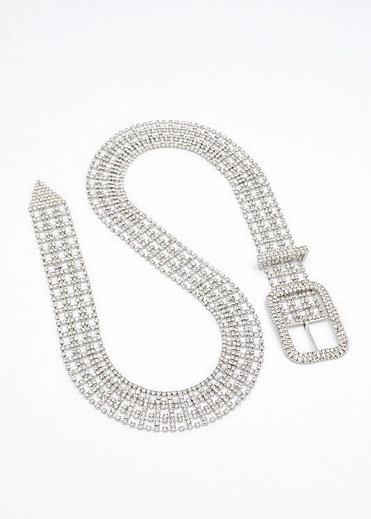 Showstopper Rhinestone Bling Belt, Silver - Brunch Babe