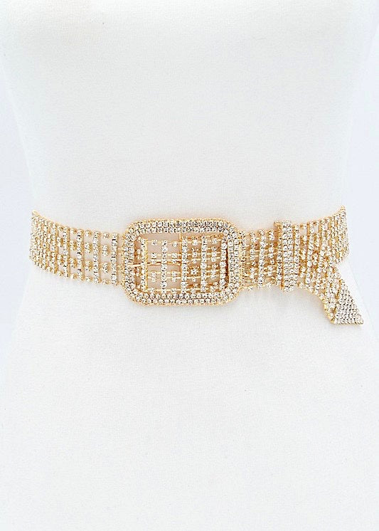 Showstopper Rhinestone Bling Belt, Gold - Brunch Babe