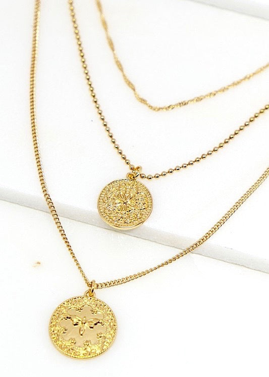 Butterfly Effect Layered Coin Necklace