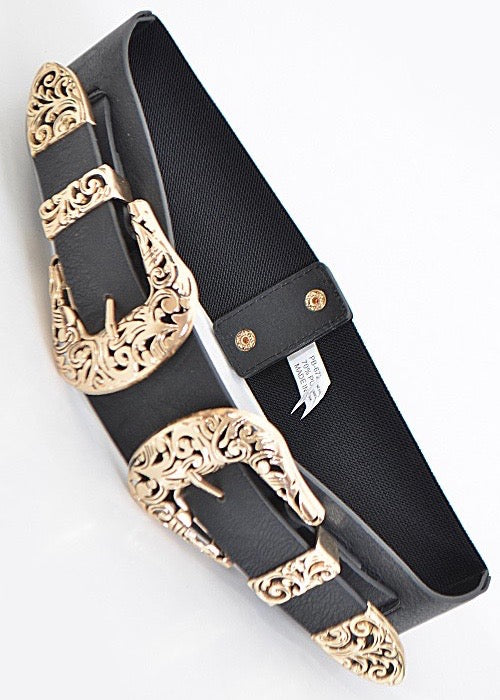 Double Up Leather Belt, Gold - Brunch Babe