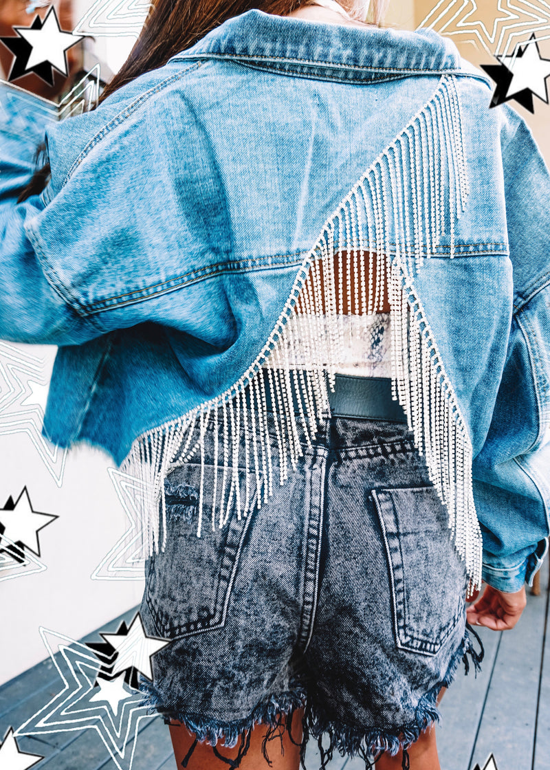 Bling It Back Denim Jacket - Brunch Babe