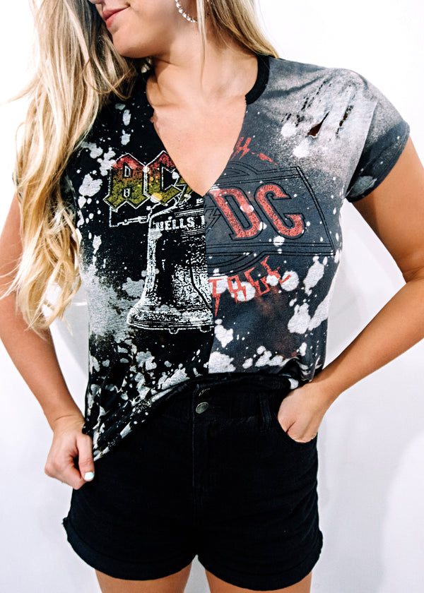 VINTAGE ACDC CONTRAST BAND TEE - Brunch Babe
