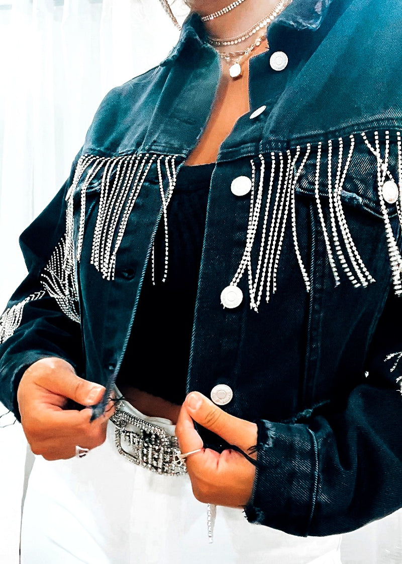 Bring the Bling Black Denim Jacket