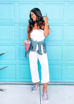 White Velour Jogger Jumpsuit - Brunch Babe
