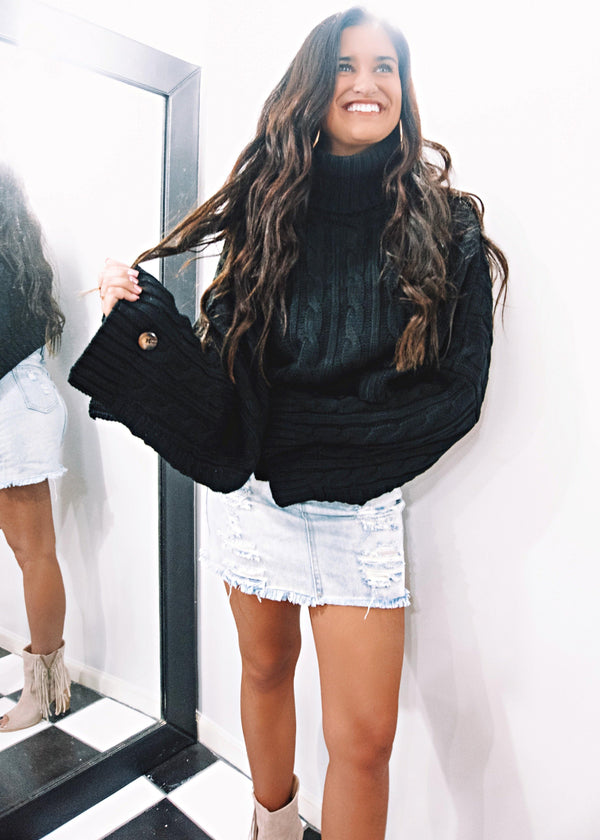Black Cropped Knit Sweater - Brunch Babe