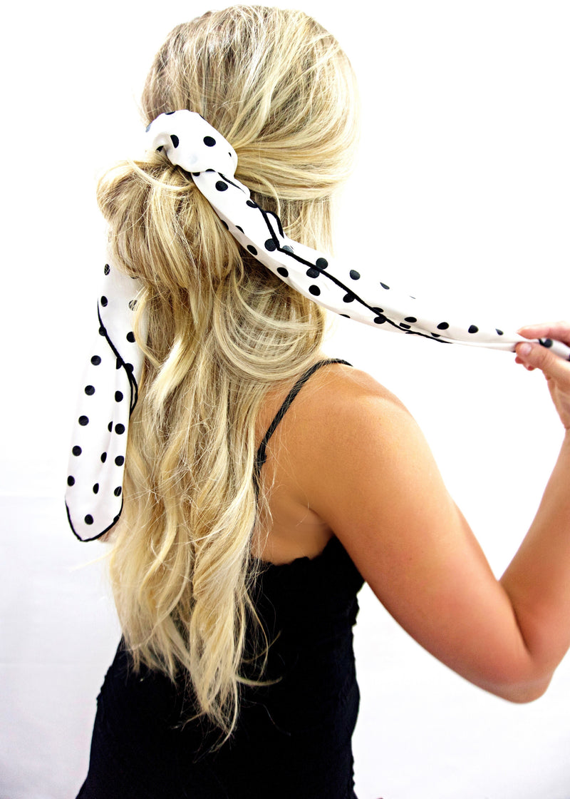 Dainty W&B Polka Dot Hair Scarf - Brunch Babe