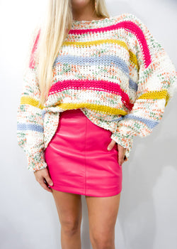 I Want It All Sweater, Magenta - Brunch Babe