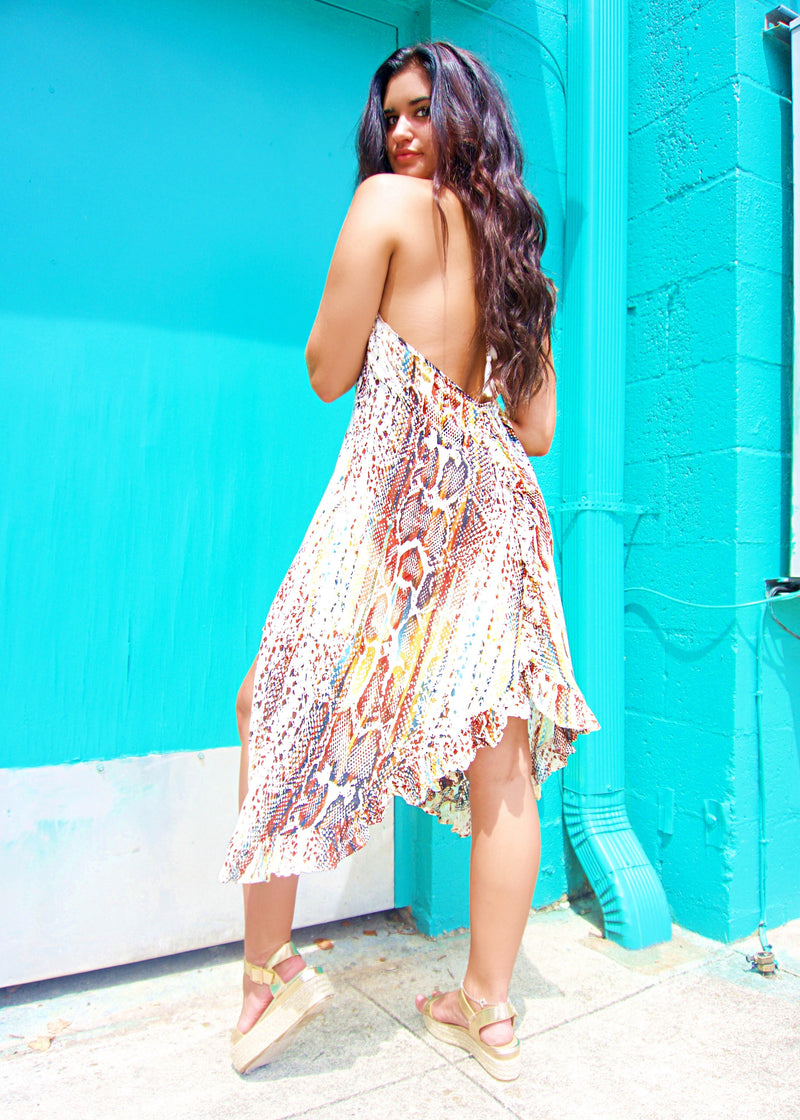 Wild + Free Snake Midi Dress - Brunch Babe