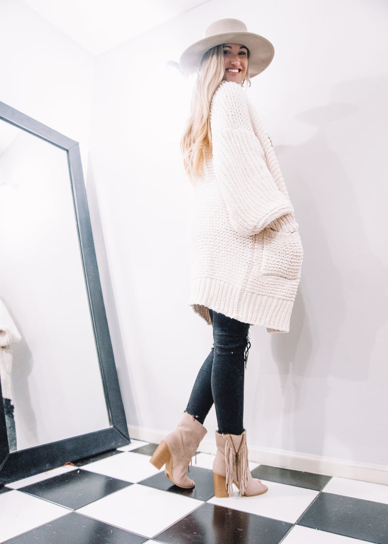 Cozy Cream Chenille Cardigan - Brunch Babe