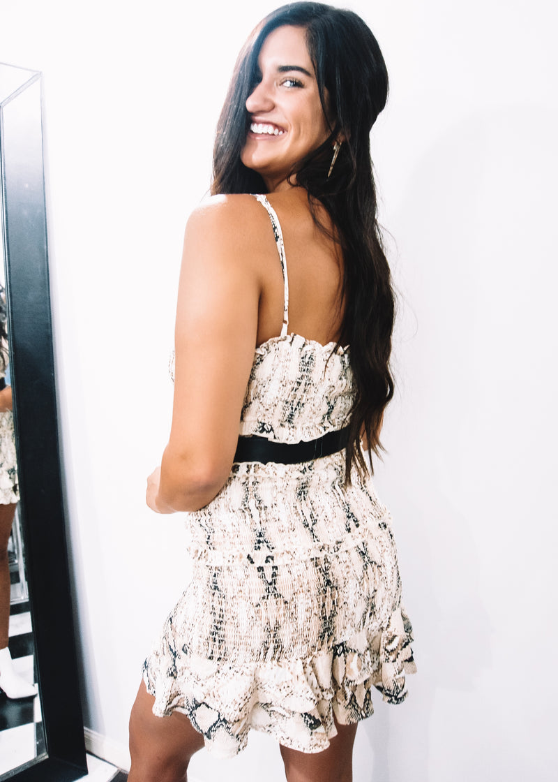 Summer Smocked Dress, Snake Print - Brunch Babe