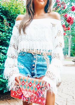 Falling For You OTS Top, White - Brunch Babe